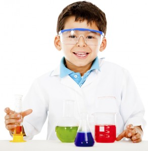 Boy making experiments