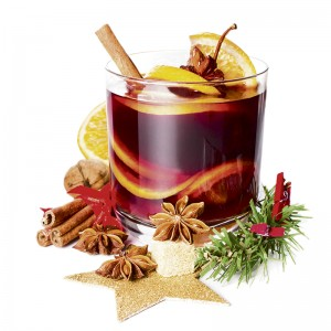 Glass with Hot red mulled wine for winter and Christmas with orange slice, anise and cinnamon sticks isolated on white background,